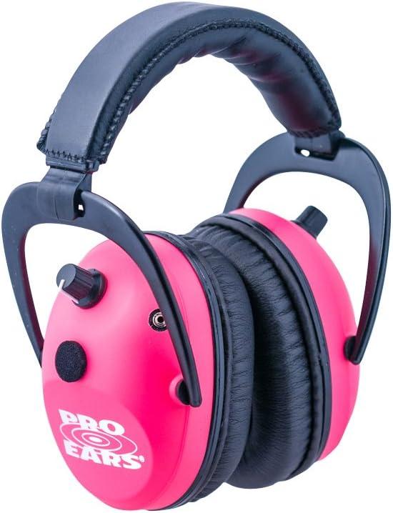 Pro Ears - プレデターゴールド - 聴覚保護とAmplfication - NRR 26 - 曲線イヤーマフ ピンク