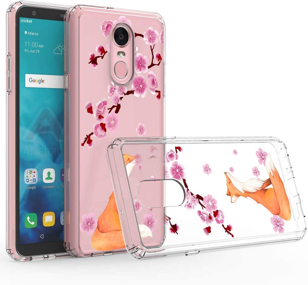 LG Stylo 4 Case, Ftonglogy Cute Pink Cherry Blossoms for Girls with Clear Design Bumper Shockproof Flexible Silicone Protective Case for LG Stylo 4 (Fox)