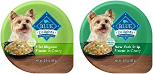 Blue Buffalo Delights Natural Adult Small Breed Wet Dog Food Cups Variety Pack, Filet Mignon and NY Strip in Gravy 3.5-oz (Pack of 24- 12 of Each Flavor)