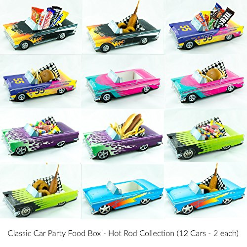 12 Classic Car Party Food Boxes - Hot Rod Collection (2 (Classic Car Decorations)
