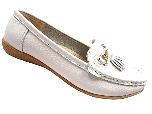 e7914ef0298 Ladies Leather Loafer Work Flat Comfort Casual Shoes Womens Black Beige  White (3 UK