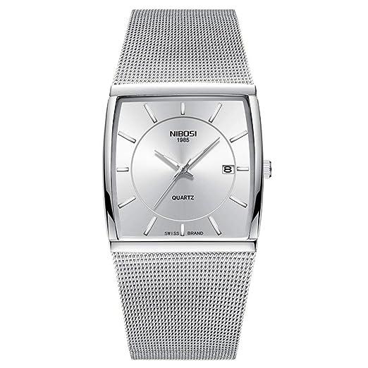 Relojes Pulsera Dial Cuadrada Ultrafino Calendario Cuff Watch Relojes Hombre Correa Ancha de Malla de Acero Inoxidable Moda, Plateado: Amazon.es: Relojes