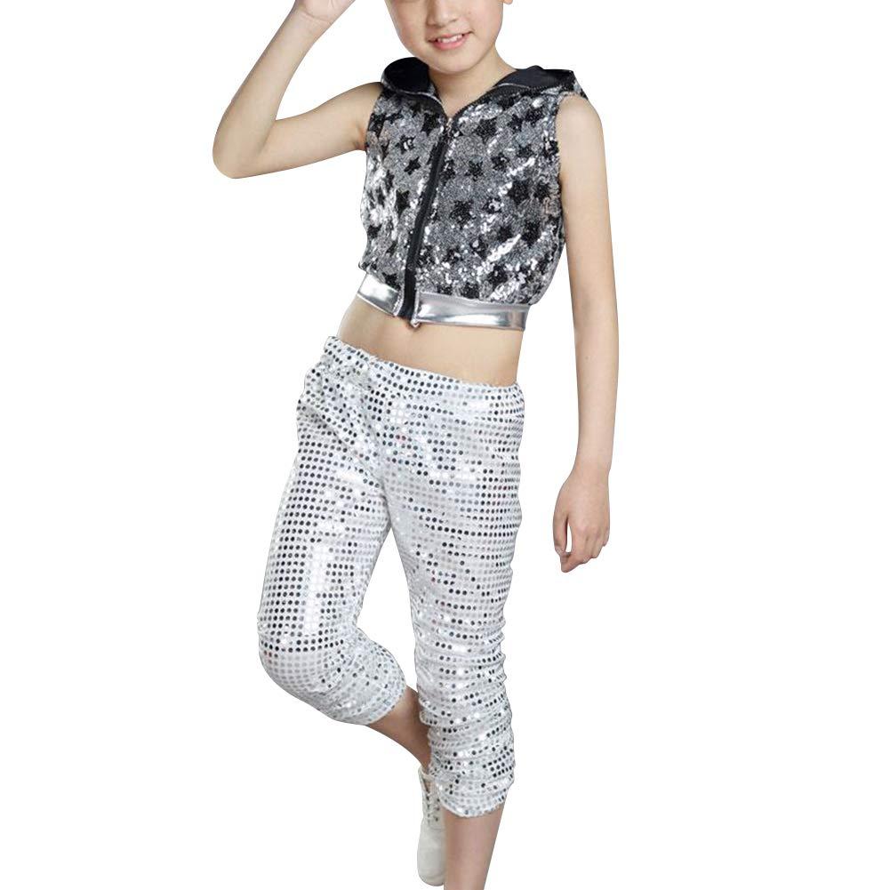 Yudesun Kids Hip-Hop Dancing Clothes - Stars Stage Performances Jazz Dancewear Silver by Yudesun