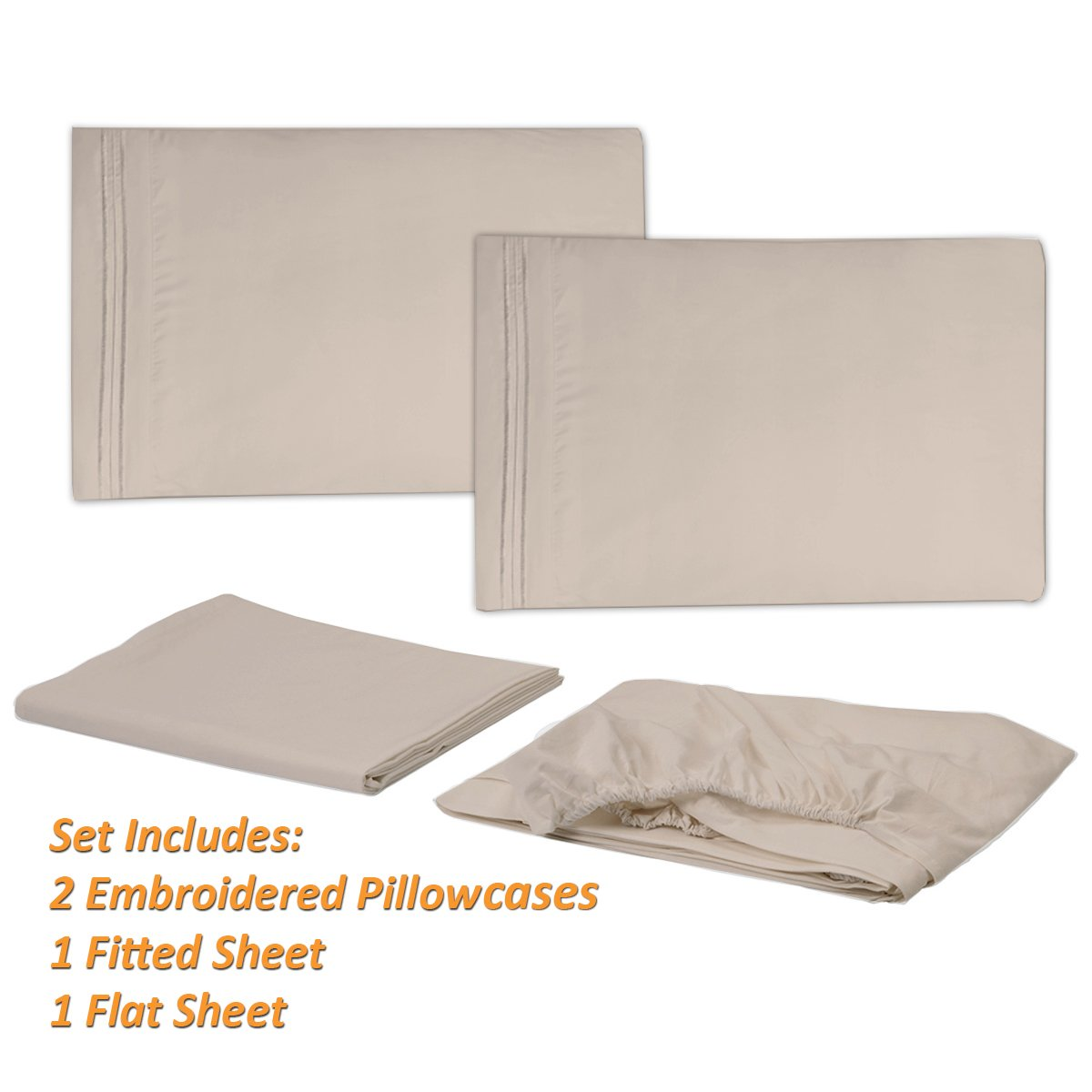 1500 Supreme Collection Extra Soft Queen Sheets Set, Beige - Luxury Bed Sheets Set With Deep Pocket Wrinkle Free Hypoallergenic Bedding, Over 40 Colors, Queen Size, Beige by Sweet Home Collection (Image #2)