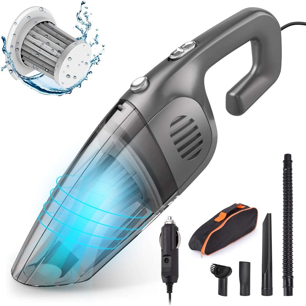Car Vacuum, E COASTAL 12V 120W 7000PA Corded Wet Dry Hand Vacuum, Cigarette Lighter Portable Handheld Strong Suction Vacuums Cleaner Auto Dust Buster for Car Keyboard Cleaning Kit, Black