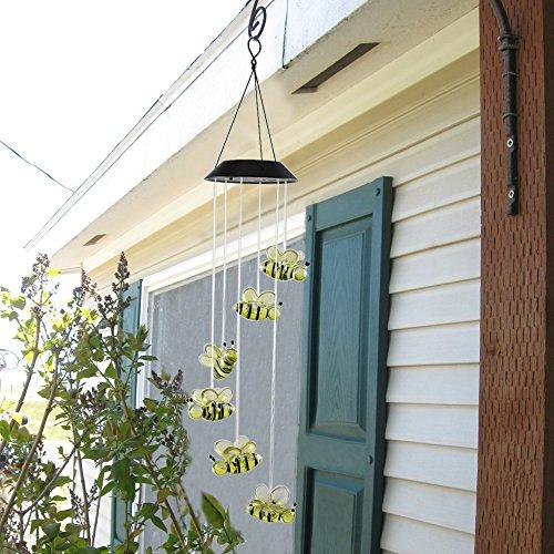 Anpatio Light Control Solar Powered Honeybee Wind Chime