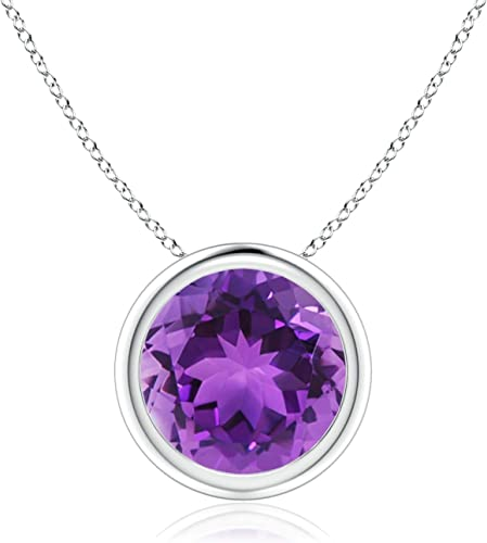 V-Bale Round Amethyst Solitaire Pendant 5mm Amethyst