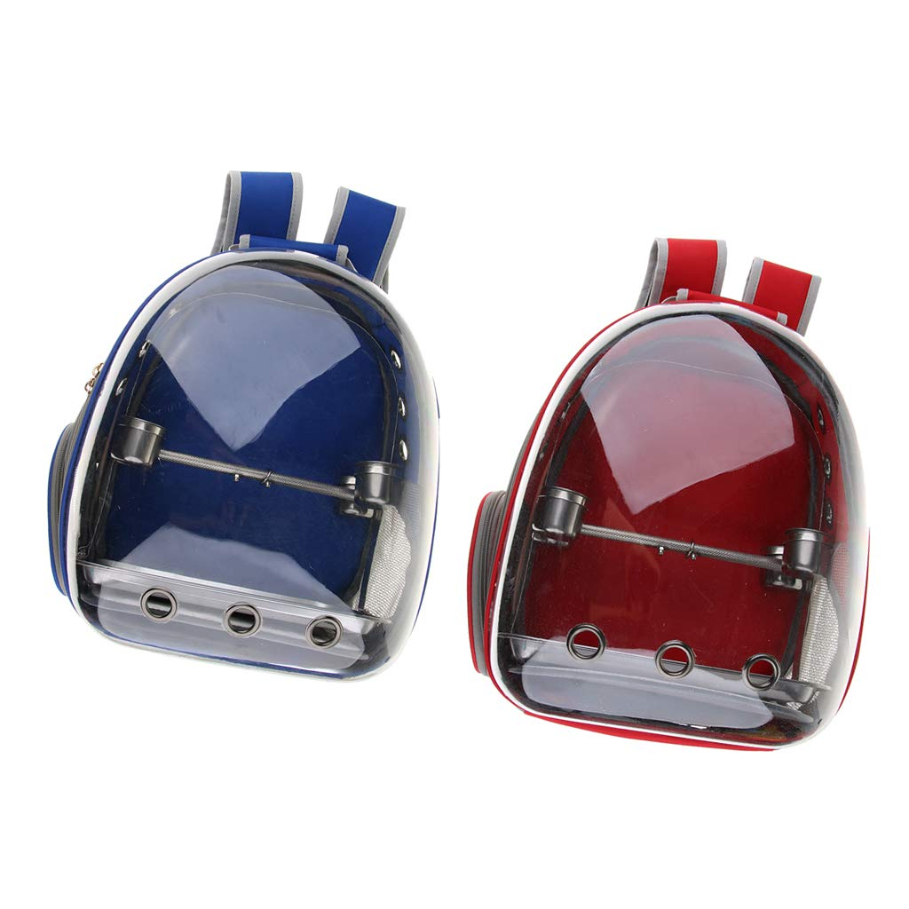 Flameer 2X Clear Cover Parrot Bird Carrier Backpack with Perch Stand Feeder Blue/Red by Flameer