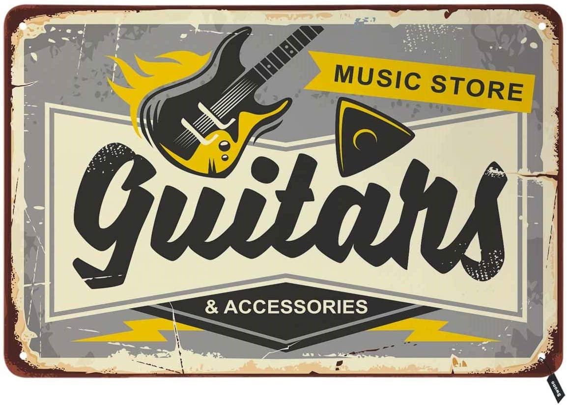 Swono Guitars Shop Tin Signs,Music Store Here on Gray Background Vintage Metal Tin Sign for Men Women,Wall Decor for Bars,Restaurants,Cafes Pubs,12x8 Inch