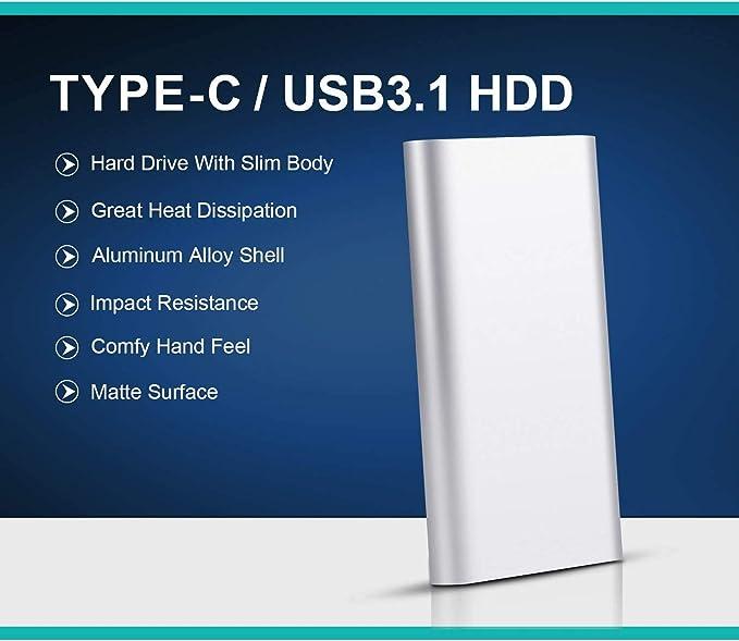 Hattahh Disco Duro Externo Port/átil 1TB Desktop Xbox 1 TB, Rojo Xbox 360 L Chromebook Type C USB3.1 Disco Duro para PC Mac