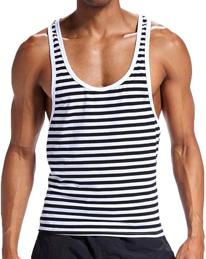 Camiseta de tirantes para hombre LANSKIRT Ropa interior atractiva para hombre Algodón Raya Sin mangas Ropa deportiva de fondo camisas slim fit sin mangas: Amazon.es: Ropa y accesorios