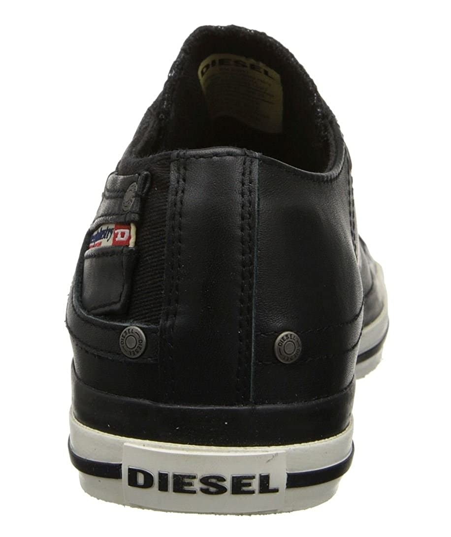 Diesel Exposure Low I Black White Leather Mens New Trainers Shoes Boots
