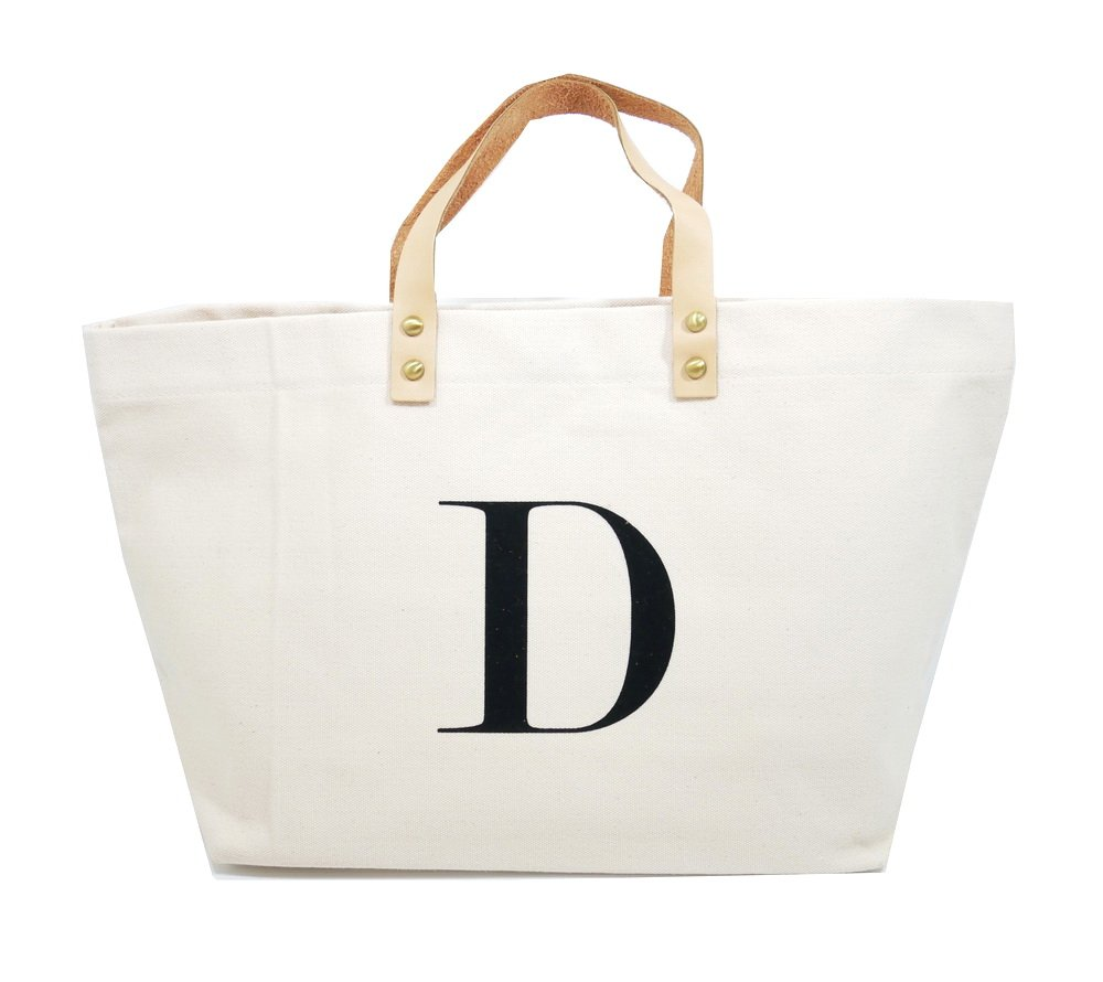 PumPumpz Canvas Tote Bag, Natural Color and Classic D Monogrammed bag. - Which arrive you within 5 days (D)