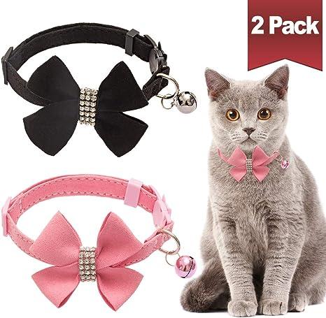 BINGPET Cat Collars Breakaway with Bell 2 Pack Heart Bling Collar Safety with Soft Velvet Adjustable for Kittens