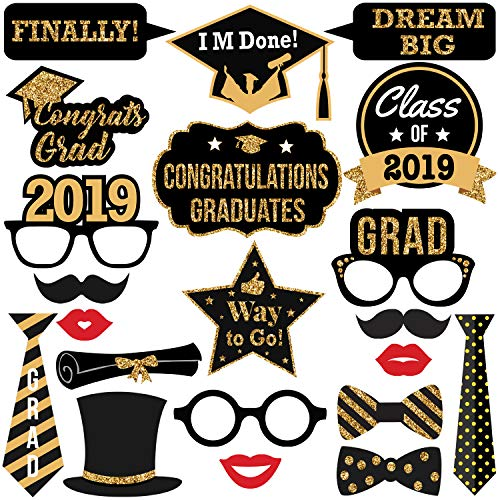 (2019 Graduation Photo Booth Props -Real Gold Glitter | Great Graduation Decorations for Graduation Party Supplies 2019 High School Senior Prom Grad Party | Heavy Duty Cardstock | Large Size,)