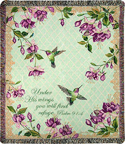 Psalm Throw - Manual Woodworkers & Weavers Tapestry Throw, Psalm 91:4, 50 x 60, Ruby's Among The Fuchsia's Scripture