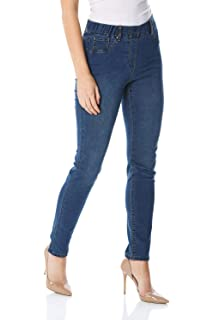 342031e70e5349 Roman Originals Women Denim Thick Premium Jeggings - Ladies Day Smart  Casual Sculpted…