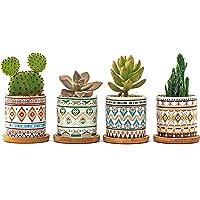 4Pcs Cactus Plant Pot Mini Succulent Plant Container, with Drainage Hole Multiple Styles Geometric Pattern Flower Pot…