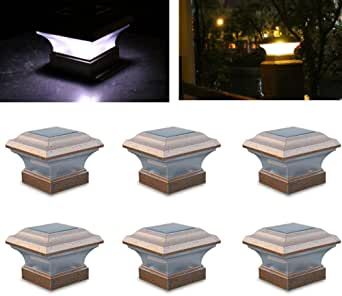 WUPYI 6 PCS Solar Post Lights Waterproof Outdoor Fence Lamp LED 4 x 4 Solar LED Post Deck Cap Square Fence Light Garden Yard Pathway Lamp