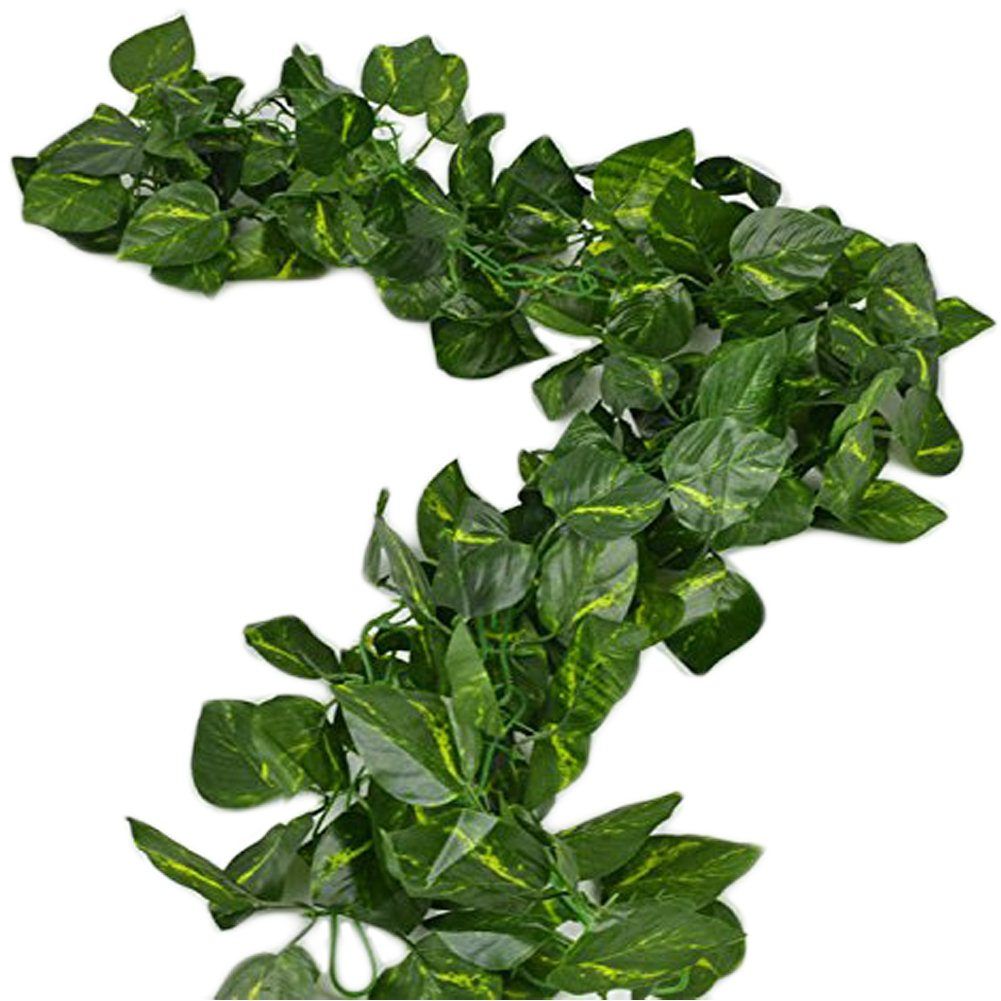 Unilove 156 feet Fake Foliage Garland Leaves Decoration Artificial Greenery Ivy Vine Plants for Home Decor Indoor Outdoors (Artificial Scindapsus Leaves)