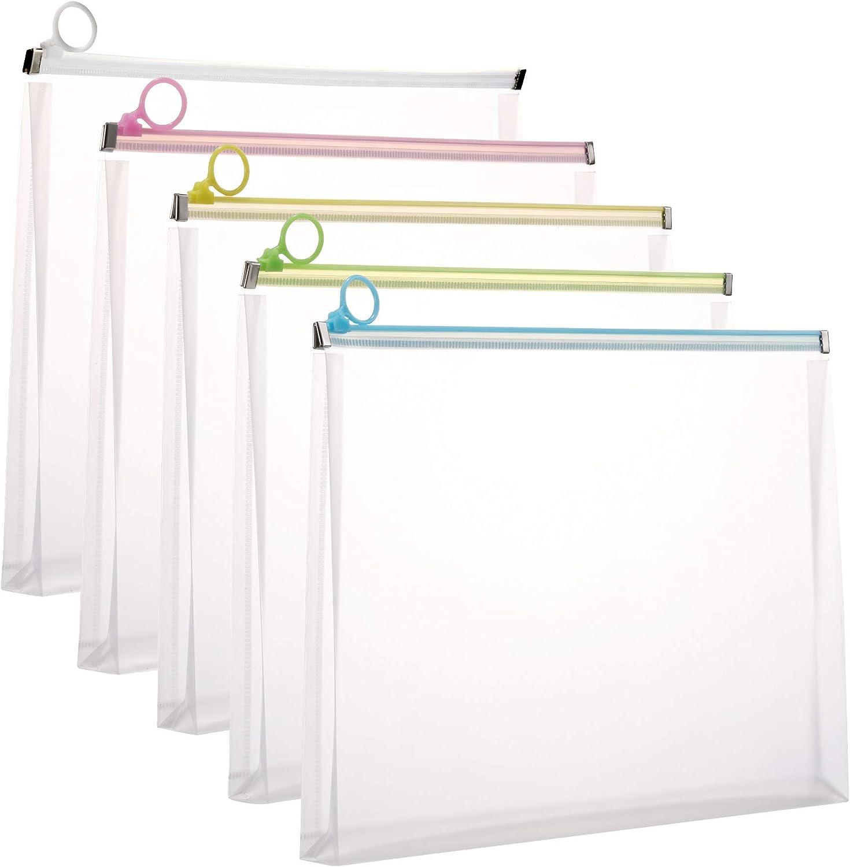 5Packs 9 3/4 x 13 Clear Plastic Zip Envelopes Letter File Document Paper Folder Case Assorted Colors
