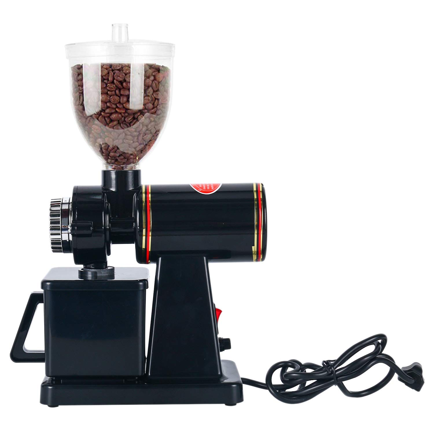 Homend Automatic 110V Electric Burr Coffee Grinder Mill Grinder Coffee Bean Powder Grinding Machine, 8 Levels of Thickness Adjustment (Black)