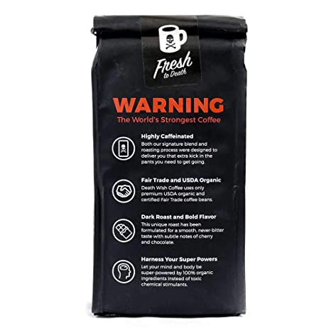 005b7de6b Amazon.com : Death Wish Ground Coffee, The World's Strongest Coffee, Fair  Trade and USDA Certified Organic, 16 Ounce : Grocery & Gourmet Food