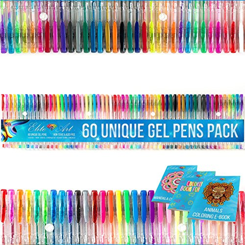 Gel Pens Pack of 60 Gel Pens Unique no Duplicates Multipack of Standard Glitter Metallic Neon Pastel Swirl Art Set for Adult Coloring Ink Pens Sketching Drawing Doodling Great Gift Non-toxic Acid (Top Anime For Adults)