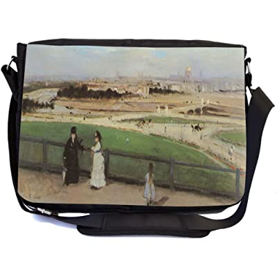 Rikki Knight Berthe Morisot Art View of Paris from Trocadero Design Multifunctional Messenger Bag - School Bag - Laptop Bag - with padded insert for School or Work - Includes Matching Compact Mirror