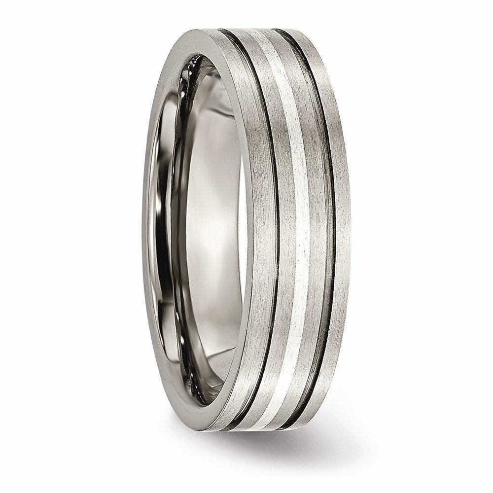 Jewels By Lux Titanium Grooved Sterling Silver Inlay 6mm Brushed Band