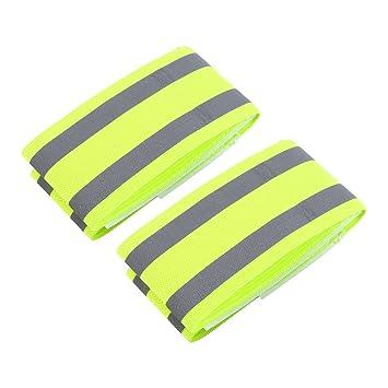 3b82abbfc98c Brazalete reflectante Pack de 2 bandas de tobillo pulsera elástica con  doble rayas reflectantes de alta visibilidad para al aire libre Correr  Ciclismo ...