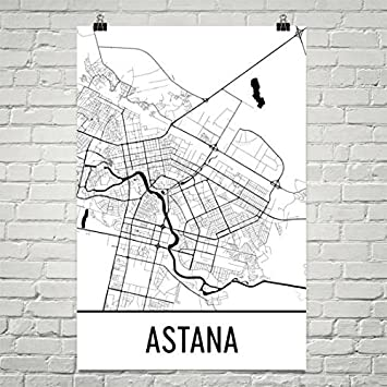 Amazoncom Astana Map Astana Art Astana Print Astana Kazakhstan