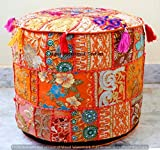 Jaipur International Textiles Indian Ottoman Pouf Cover Foot Stool Cover Patch Work Round Pouf Cover Hippie 18'' x 14'' Cotton Decorative Indian Floor Pillow Cover Throw Living Decor