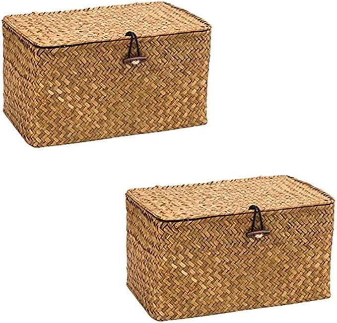WOOD MEETS COLOR Cuadrado Cesto de Almacenaje de Mimbre Caja de Almacenaje con Tapa 24cmx14cmx13cm (Originalx2): Amazon.es: Hogar