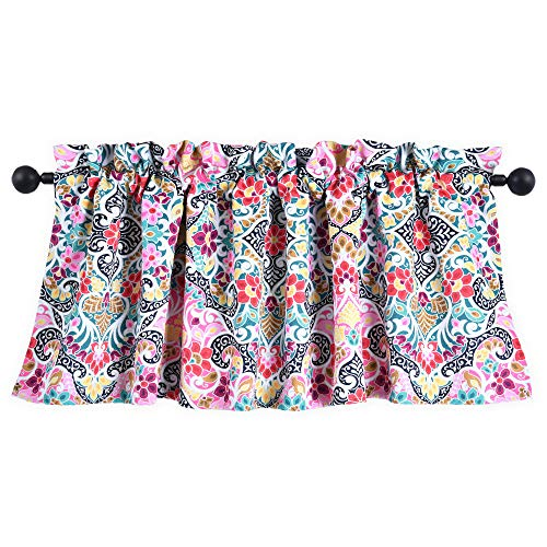 HOLKING Abstract Floral Patterned Valance Curtain for Windows,Colorful Flower Valances (Yellow,Pink,Turquoise,Teal,Red,18 Inch Long,1 Panel)