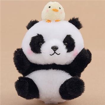 Muñeco de peluche con sonido panda blanco negro con pollo amarillo cadena Japón