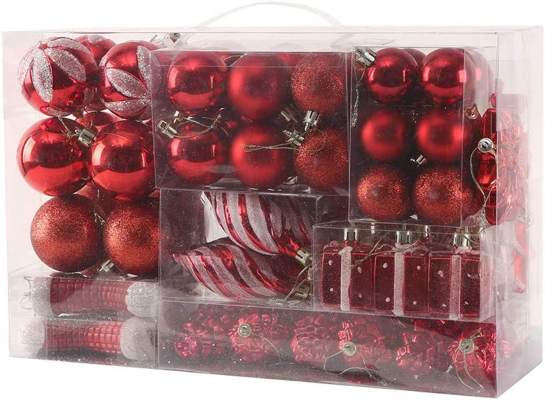 Sattiyrch 76ct Christmas Balls Ornaments Set for Xmas Tree,Shatterproof Christmas Tree Decorations with Reusable Hand-Help Gift Boxes (Red)