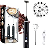 Milk Frother Electric, Handheld USB Rechargeable Gift for Coffee Lovers, 3 Speeds Foam Maker for Lattes, Cappuccino - 2…