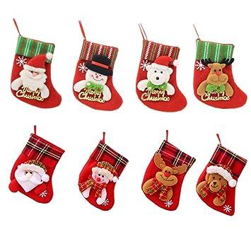 Amasawa 8 Piezas Calcetines Navidad Decoración Regalo Bolsas Navidad Calcetin Almacenamiento De Titular Dulces: Amazon.es: Hogar
