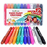 No-Mess Large Face Paint and Body Crayons for Kids 12 Non Toxic Rainbow Colors. Ideal for Birthday Parties Gifts