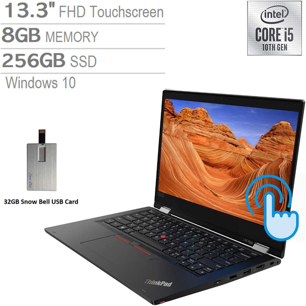 "2020 Lenovo ThinkPad L13 Yoga 2-in-1 13.3"" FHD Touchscreen Laptop Computer, Intel Core i5-10210U, 8GB RAM, 256GB SSD, Backlit Keyboard, Intel UHD Graphics, HD Webcam, Windows 10, Black, 32GB USB Card"