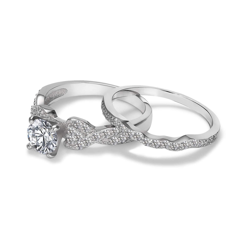 3UMeter 925 Sterling Silver Engagement Ring Set CZ Wedding Bridal Sets Wedding Set for Women Size 5-11