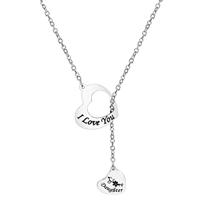 548ad5b88d2 Zuo Bao I Love You Mother and Daughter Stainless Steel Lariat Y Necklace (I  Love
