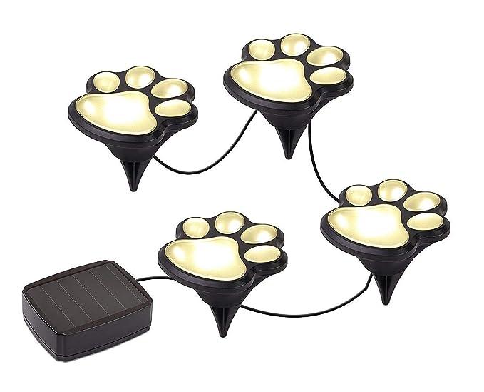 Amazon.com: Nice 4 Solar de perro animal Paw Print luces ...