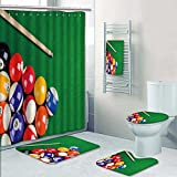 Nalahome Designer Bath Polyester 5-Piece Bathroom Set,billiard balls on green table with billiard cue snooker pool game Print bathroom rugs shower curtain/rings and Both Towels(Large)