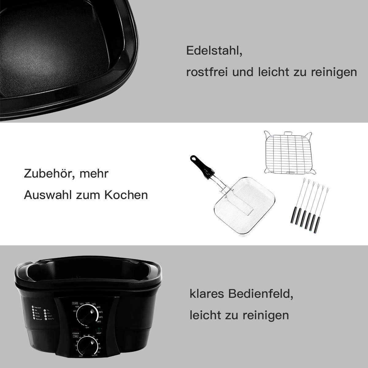 COSTWAY 8 in 1 Multikocher Slow Cooker Schongarer Multicooker mit Temperaturregler 5 L ink Frittierkorb Dampfst/änder Schwarz Spie/ße 1500WTimer Glasdeckel