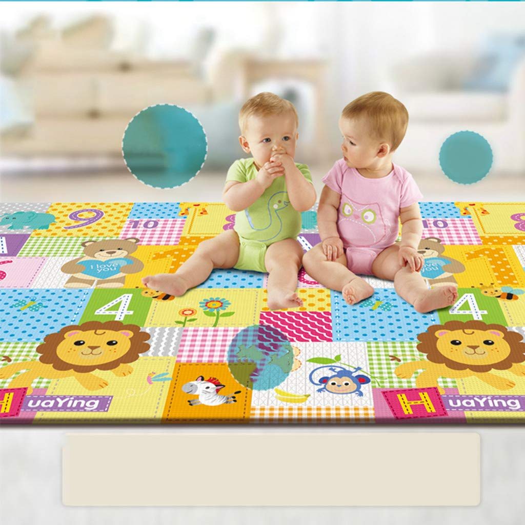 "B07YWV13JG Mosunx Baby Play Mat, Baby Floor Mat, Extra Large Thick Foam Soft Crawling playmats Reversible Waterproof Portable Carpet for Babies (79"" x 71"" x 0.4"") 61NpUDZHQRL"