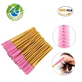 Disposable Eyelash Mascara Brushes Wands for Extension Makeup Applicator Tool Bulk,300 Pcs/Pack,Gold/Pink