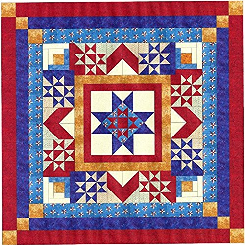 Easy Quilt Kit Sparkling Patriotic Medallion/Queen by Material Maven