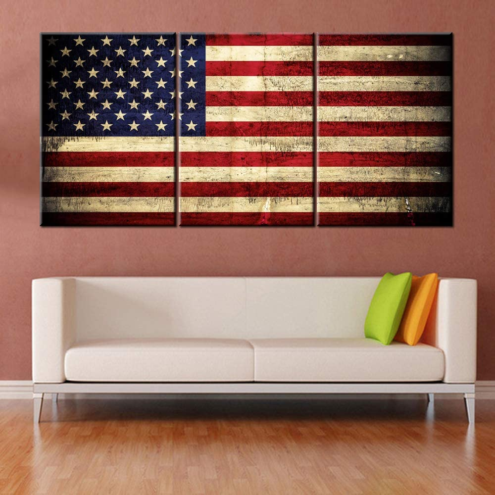 Native American Flag Pictures Star Stripes Paintings Patriotic Artwork Grunge Red Wall Art 3 Panel Prints on Canvas for Living Room Giclee House Decoration Framed Stretched Ready to Hang(60''Wx28''H)
